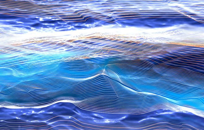 Artistic impression of the background hum of gravitational waves permeating the Universe. Credit: Carl Knox, OzGrav/Swinburne University of Technology